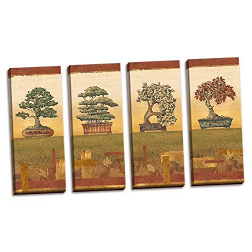Gango Home Décor Classic Retro Japanese Bonsai Tree Print Panels by Charlene Audrey; Four 8X20in Hand-Stretched Canvases