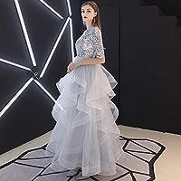 ドレス パーティードレス ウェディングドレス カラードレス ステージドレス Aライン マーメイド レディース aruka_aneta S グレー
