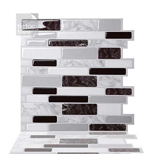Tic Tac Tiles Pelar anti baldosas del molde y la toma mural pared posterior En Polito Negro Blanco 5 10' x 10' Marble carbón de leña; Blanco; Gris medio; Mármol blanco y gris
