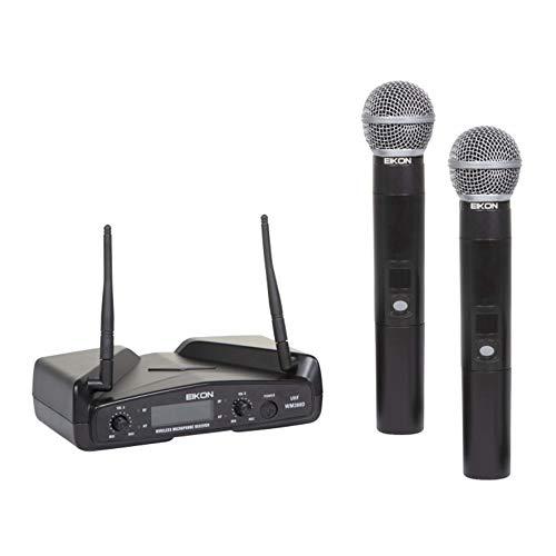 Proel EIKON WM300DM UHF draadloze professionele draadloze microfoon met 1 ontvanger + 2 handzenders, zwart