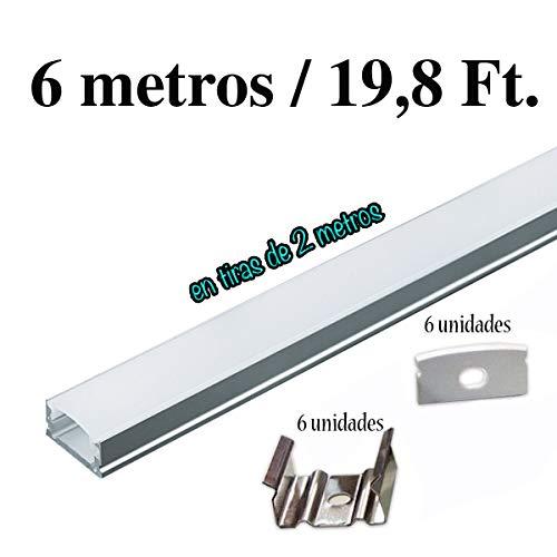 Perfil de aluminio para tira de LED,barra disipador en tiras de 2 metros,canal con difusor opaco PACK 6 mts. con soporte de montaje para la instalacion,tapas finales.