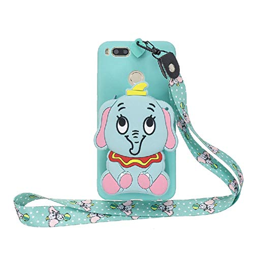 JZ Cartoon Wallet Funda For para Xiaomi Mi 5X/Mi A1 Silicone Soft Funda with [Long Wrist Strap] - Green-Elephant