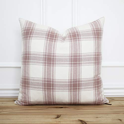 Promini Pink Plaid Pillow Cover Plaid Throw Pillow Decorative Pillow Farmhouse Pillow Cover Designer Pillow Halsey Case Cushion Pillowcase For Sofa Home Decor 26 x 26 Inches