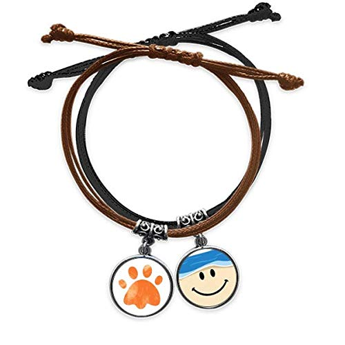 Bestchong Orange Paw Print Cat Footprint Animal Bracelet Rope Hand Chain Leather Smiling Face Wristband