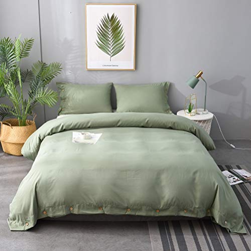 M&Meagle Duvet Cover Green,Solid Color Button Design,100% Microfiber Treated by Washed Cotton Process,Feels Like a Very Soft Cotton-Queen Size(3Pcs,1 Duvet Cover 2 Pillowcases)