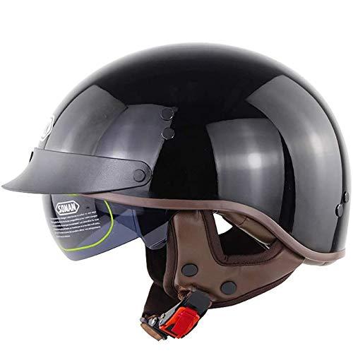 Motocicleta Helmet Retro Half Cascos Jet,Medio Casco Pedal Batería Coche Chopper Piloto Vintage Motocicleta Casco Crucero Cuatro Temporadas ECE/Dot Certificación A,L