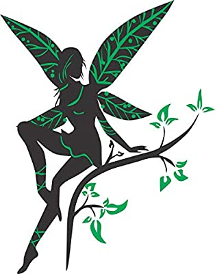 MADHUBAN DECOR Beautiful Fairy Wall Sticker Madhuban Décor Cute Green Colored Fairy Decal Wall Sticker (Multicolor size110x85cm)
