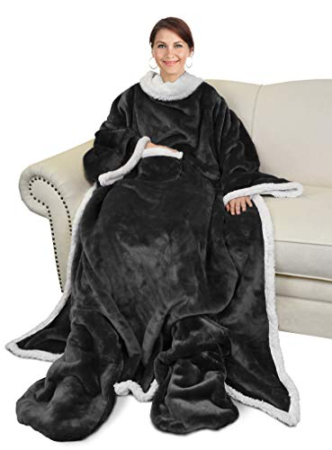 Catalonia Sherpa Wearable Blanket with Sleeves & Foot Pockets for Adult Women Men,Comfy Snuggle Wrap Sleeved Throw Blanket Robe,Gift Idea,Black