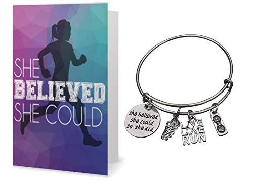 Runner Bracelet & Card Gift Set, Runner She Believed She Could So She Did Charm Bangle Bracelet, Runner Gift