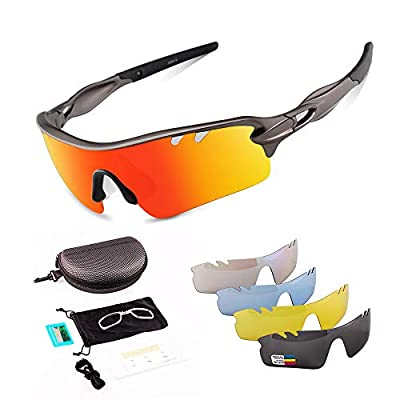 Toneoesol Polarized Sports Sunglasses for Men Women, with 5 Interchangeable Lenses for Cycling Running (Bright Gun Grey Black)