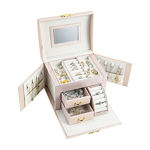 SHJKL Caja De Joyería De Mujer Caja De Almacenamiento, Cajas De Joyería De 3 Capas De 3 Capas, Titular De Exhibición De Joyas De Cuero De PU, Collar De Reloj Anillo De Anillo Organizador,Rosado