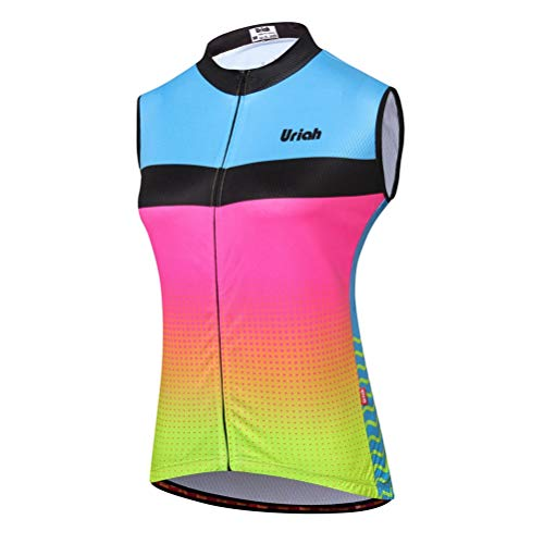 Uriah Women's Cycling Vest Reflective with Rear Zippered Bag Blue Pink Size M