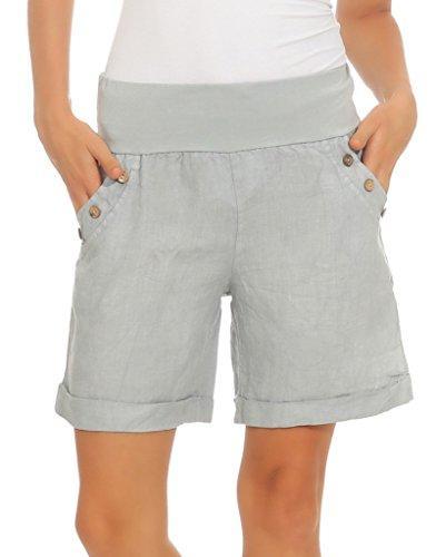 Mississhop 280 Damen Leinenshorts Bermuda lockere Kurze Hose Freizeithose 100% Leinen Shorts mit DREI Knöpfen Sommer Strand Grau M
