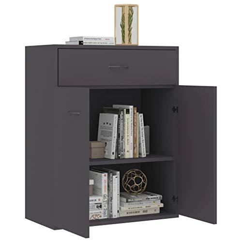 Mueble aparador de madera 60 x 30 x 75 cm Aparador con 2 puertas y 1 cajón Cómoda baja mueble de servicio para exponer objetos decorativos-gris
