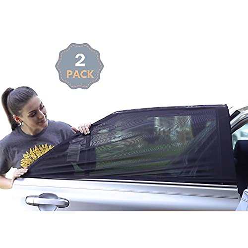 EcoNour Car Window Screens for Camping   100% Protection from Bugs, UV and Car Mosquito Net for Camping   Breathable Mesh Baby Car Window Covers for Privacy Blackout   Pack of 2 (Medium 36'x17')