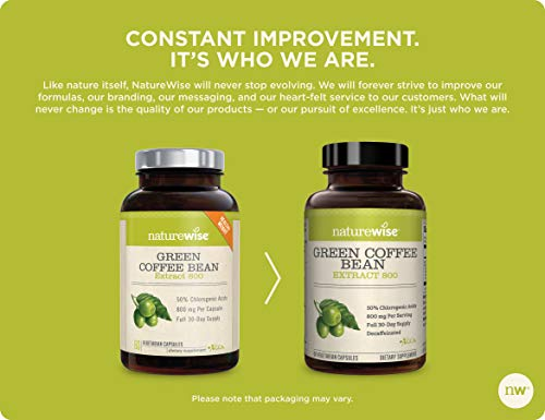 NatureWise Green Coffee Bean 800mg Max Potency Extract 50% Chlorogenic Acids | Raw Green Coffee Antioxidant Supplement & Metabolism Booster for Weight Loss | Non-GMO, Vegan, & Gluten-Free [1 Month]