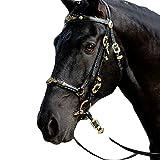 UUK Cavezza per Cavalli Briglia Universale per Cavalli in Pelle con Fibbia in Metallo Grande Anello di Connessione Redini per Cavalli per La Caccia da Addestramento