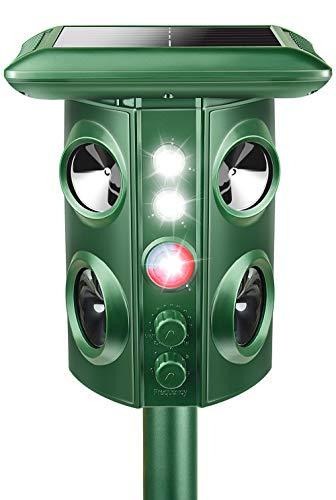 2020「改良型強化版」動物撃退器 害獣撃退 4個超音波スピーカー/機械波/強力LEDフラッシュライト 5つのモ...