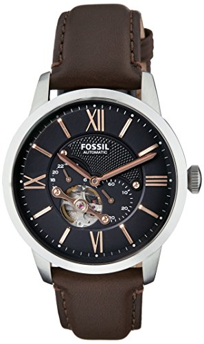 Fossil Men's Townsman Auto Automatic Leather Multifunction Watch, Color: Silver, Brown (Model: ME3061)