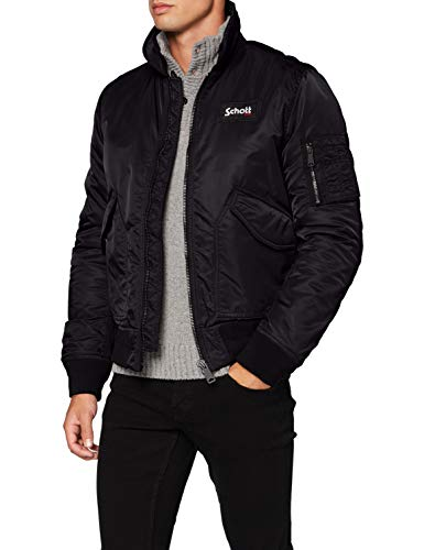 Schott Mens 210100 Removable Badge Bomber Jacket in Black Small