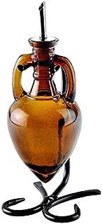 Olive Oil Dispenser, Soap Dispenser Bottle or Oil and Vinegar Dispenser Bottle G42F Amber Amphora Style Glass Bottle with ...