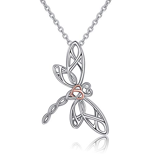 EJALEN 925 Sterling Silver Dragonfly Necklace - Hollow Rose Gold Heart Dragonfly Celtic Jewelry Birthday for Women and Dragonfly Lovers