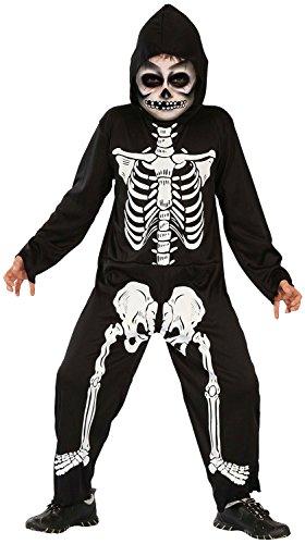 Magicoo Skelett Kostüm Kinder Jungen schwarz-weiß - gruseliges Halloween Kostüm Jungen (110/116)