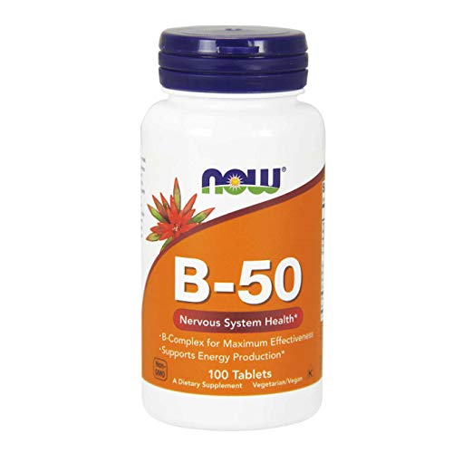 NOW Supplements, Vitamin B-50 mg, Energy Production*, Nervous System Health*, 100 Tablets