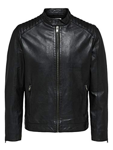 SELECTED HOMME Herren Slh R-03 Racer Leather JKT W Noos Jacke, Schwarz (Black), S