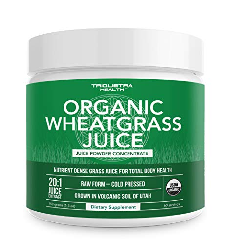 Organic Wheatgrass Juice Powder - Grown in Volcanic Soil of Utah - Raw & BioActive Form, Cold-Pressed Then CO2 Dried - Complements Barley Grass Juice Powder - 5.3 oz