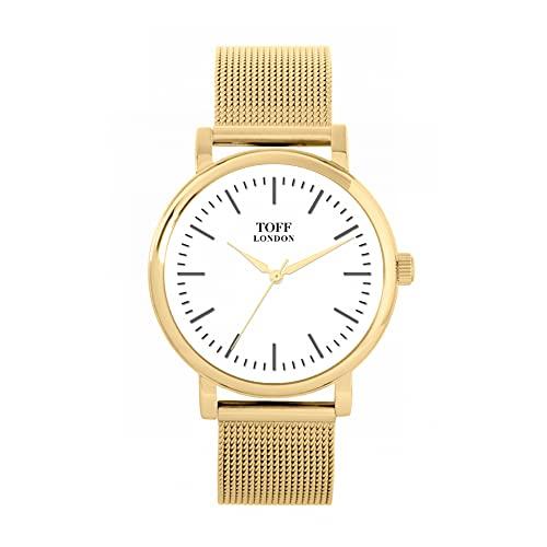 Toff London Reloj Tradicional Batons Blanco y Plateado