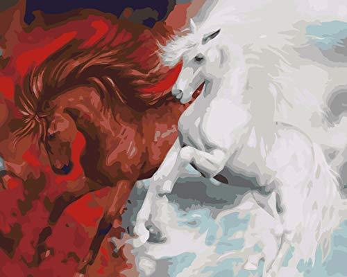 Verf door Numbers Kits met Borstels en Acryl Pigment DIY Canvas Schilderen voor Volwassenen Beginnerchristmas Decor Decoraties Geschenken Vliegend Paard 40X50Cm