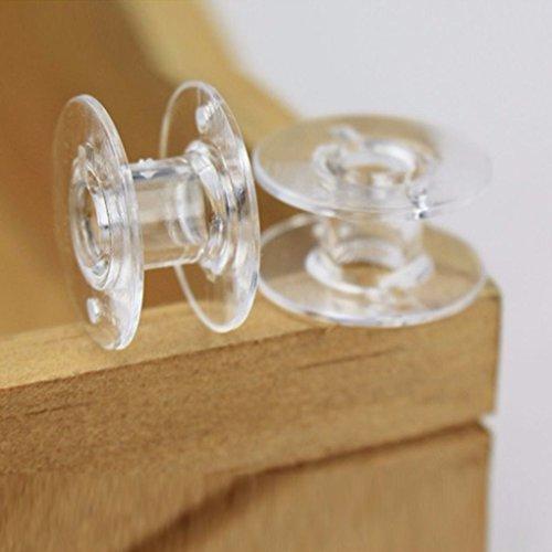 Homemagiceer 25pcs Rosca de plástico Transparente para máquinas de Coser Cadena vacía bolillos Carretes