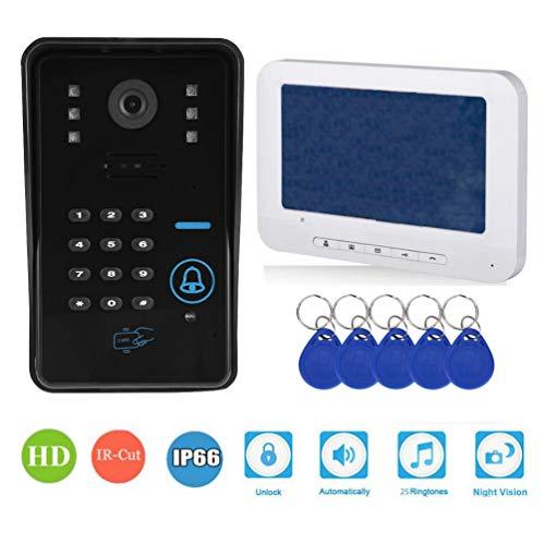 Wandisy Sistema de Control de Seguridad - Videoportero Teléfono Timbre de la Puerta Cable Video Intercomunicador Monitor 7