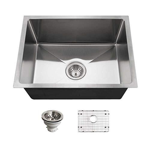 Big Sale Best Cheap Deals Houzer NOS-4100-1 Nouvelle Single Bowl Undermount Stainless Steel Kitchen Sink, 23-1/16-by-18-Inch