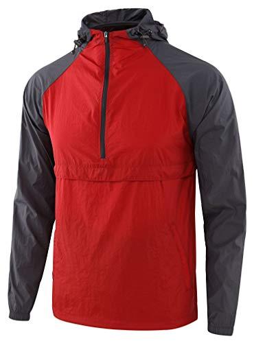 KNQR Men's Lightweight Zip Waterproof Anorak Windbreaker Jackets Active Hoodies Flame Red/Dark Gray S