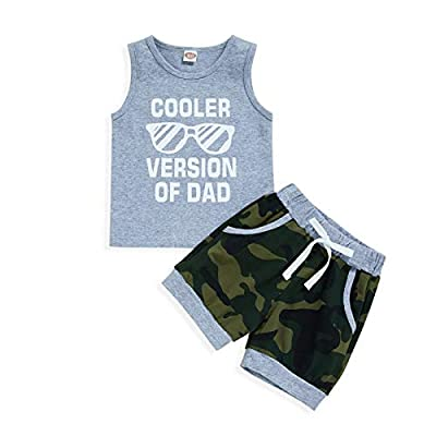 Baby Boy Shorts Clothes Toddler Cooler Version of Dad Print Vest Tops Camouflage Pants Summer Outfit 2Pcs Set(Gray,12-18 Months) by