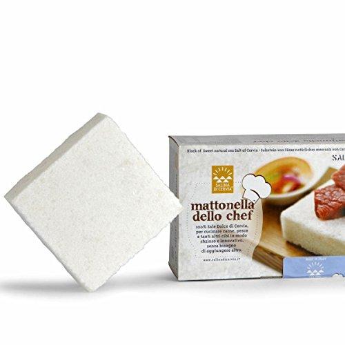 Mattonella dello Chef in Sale Dolce di Cervia - Ideale per la Cottura di Carni e Pesce e per la preparazione del Sushi - 4 Pezzi da 10 x 10 cm