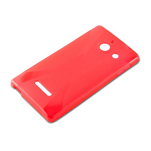 Cadorabo Hülle für Huawei Ascend W1 - Hülle in Inferno ROT – Handyhülle aus flexiblem TPU Silikon im X-Line Design - Silikonhülle Schutzhülle Soft Back Cover Case Bumper - 4