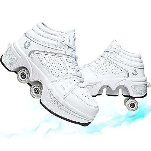 Cuatro Ruedas Patines De Ruedas Zapatos para Correr Zapatos De Patines De Deformación Patines En Línea Patines De Ruedas De Doble Uso