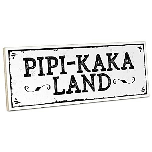 ARTFAVES® Holzschild mit Spruch - PIPI-Kaka-Land | Vintage Deko Schild zum Thema Bad/Badezimmer/WC/Toilette | Shabby Chic Holzbild auch als Geschenk
