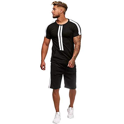 AIchenYW Jiakeda – Chándal deportivo para hombre, 2 piezas, conjunto de deporte de manga corta, diseño a rayas, suéter de verano y tiempo libre Negro -03. S