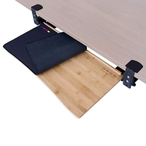Easy Clamp On Large Keyboard Tray Under Desk – Bamboo Wood Keyboard Drawer with Full Size Keyboard and Mouse Pad, Original Wood, Large