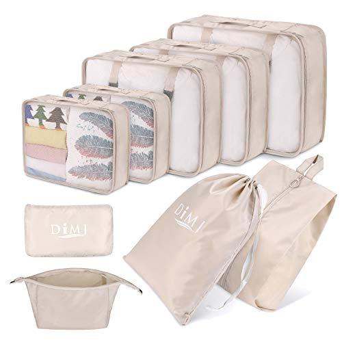 DIMJ Koffer Organizer 9 Teilig, mit 5 Packtaschen und EIN Kordelzugbeutel Schuhbeutel Kabel Aufbewahrungstasche Kosmetiktasche für Kofferorganizer Reise Würfel (Beige)