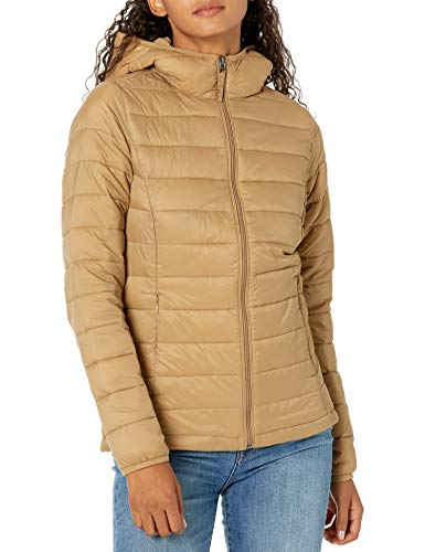Amazon Essentials Lightweight Water-Resistant Packable Hooded Puffer Jacket Chaqueta aislada, Camel, S