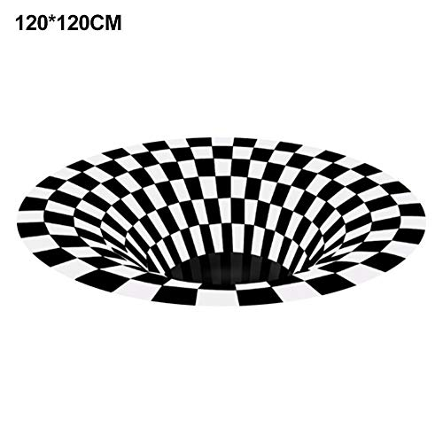 3D Vortex Rug, Area Rug Round,3D Black White Plaid Round Rugs Anti-Skid Non-Woven Doormat 3D Visual Vortex Floor Rug Carpet For Living Room