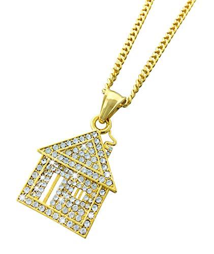 Exo Jewel - Colgante de Acero Inoxidable Chapado en Oro de 18 Quilates con Cadena de 61 cm