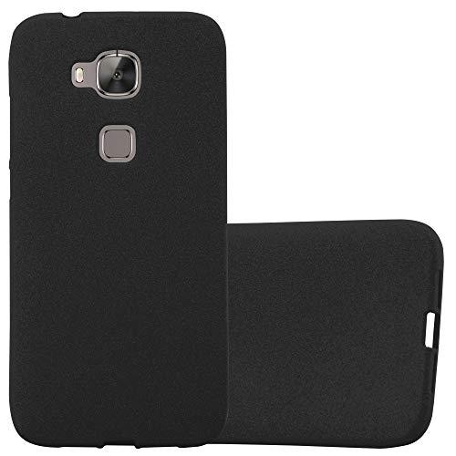 Cadorabo Hülle für Huawei G7 Plus / G8 / GX8 - Hülle in Frost SCHWARZ – Handyhülle aus TPU Silikon im matten Frosted Design - Silikonhülle Schutzhülle Ultra Slim Soft Back Cover Case Bumper