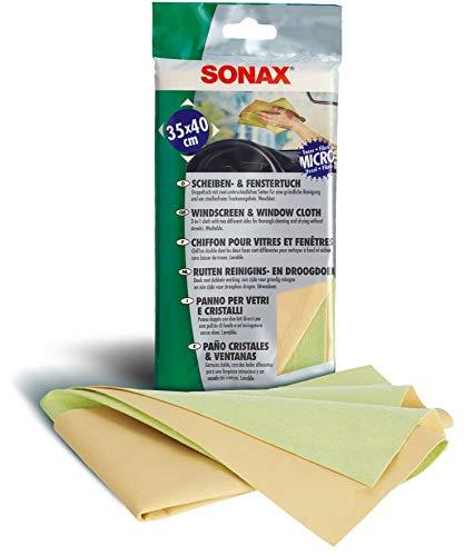 SONAX Scheiben- & FensterTuch (1 Stück) mit zwei unterschiedlichen Seiten für eine gründliche Reinigung und ein streifenfreies Trockenergebnis | Art-Nr. 04167000