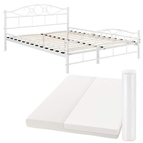 ArtLife Metallbett Toskana 140 x 200 cm weiß – Komplett Set mit Matratze - Bett mit Lattenrost und Kaltschaummatratze – modern & massiv – große Liegefläche